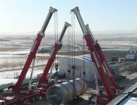 Four Crane Oil Line Lift - Stampede Crane & Rigging